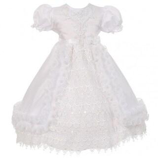 Rain Kids Little Girl White Crochet Lace Baptism Sheer Cape Dress 2-4T