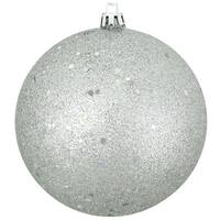 "Silver Splendor Shatterproof Holographic Glitter Christmas Ornament 4"" (100mm)"