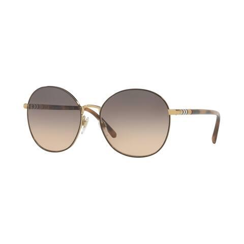 Burberry Round BE3094 WoMens LIGHT GOLD Frame LIGHT BROWN GRADIENT GREY Lens Sunglasses
