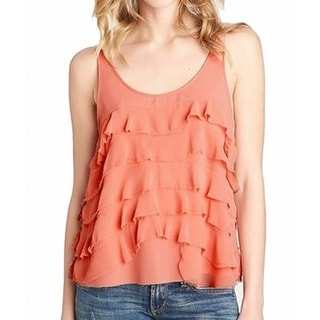 1. State NEW Orange Women's Size Small S Tank Tiered Frayed Blouse