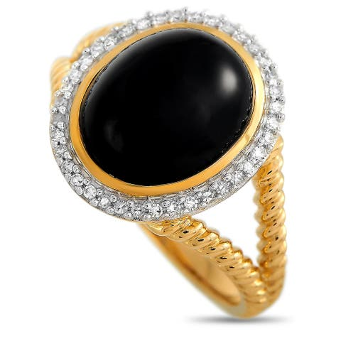 Yellow Gold 0.11 ct Diamond and Onyx Ring Size 11.25