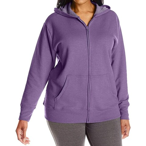 Just My Size Purple Womens Size 3X Plus Full Zipper Hooded Sweater