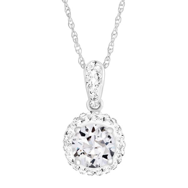 Crystaluxe April Pendant with White Swarovski elements Crystals in Sterling Silver