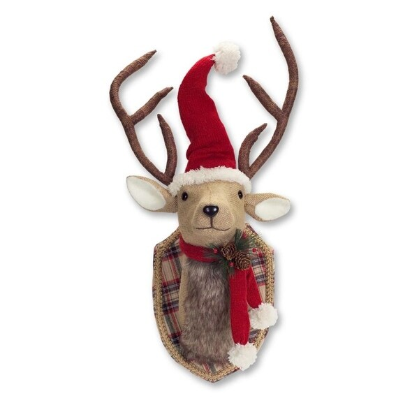 """21"""" Christmas Plaid Mounted And Dressed Reindeer Bust With Scarf and Santa Hat"""