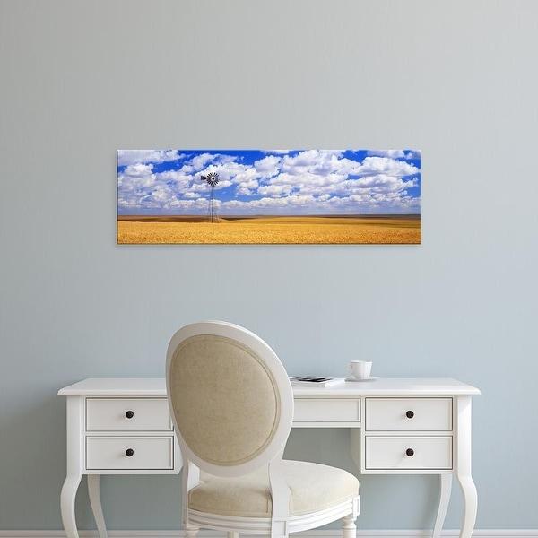 Easy Art Prints Panoramic Images's 'Windmill Wheat Field, Othello, Washington State, USA' Premium Canvas Art
