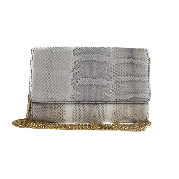 Shop Roberto Cavalli White Leather Snake Embossed Clutch