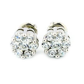 8mm Wide Cluster Earrings Screw Back Sterling Silver Round CZ 4cttww Size