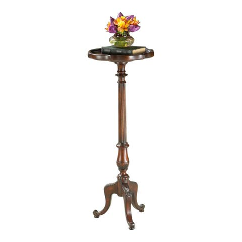 Offex Traditional Round Pedestal Plant Stand - Brown