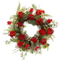 """Pack of 2 Red Geranium Flowers with Ivy and Fern Leaves Decorative Artificial Wreaths 24"""" - Green"""