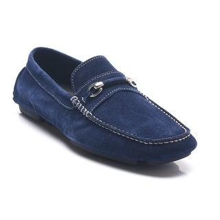 Bruno Magli Men's Leather Suede Pogia Driving Shoes Loafers Navy