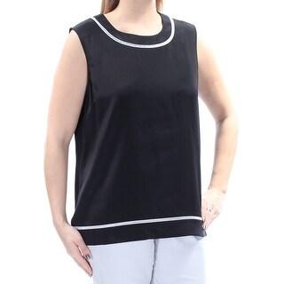 ST JOHN $495 Womens New 1495 Black White Color Block Crochet Trim Top L B+B