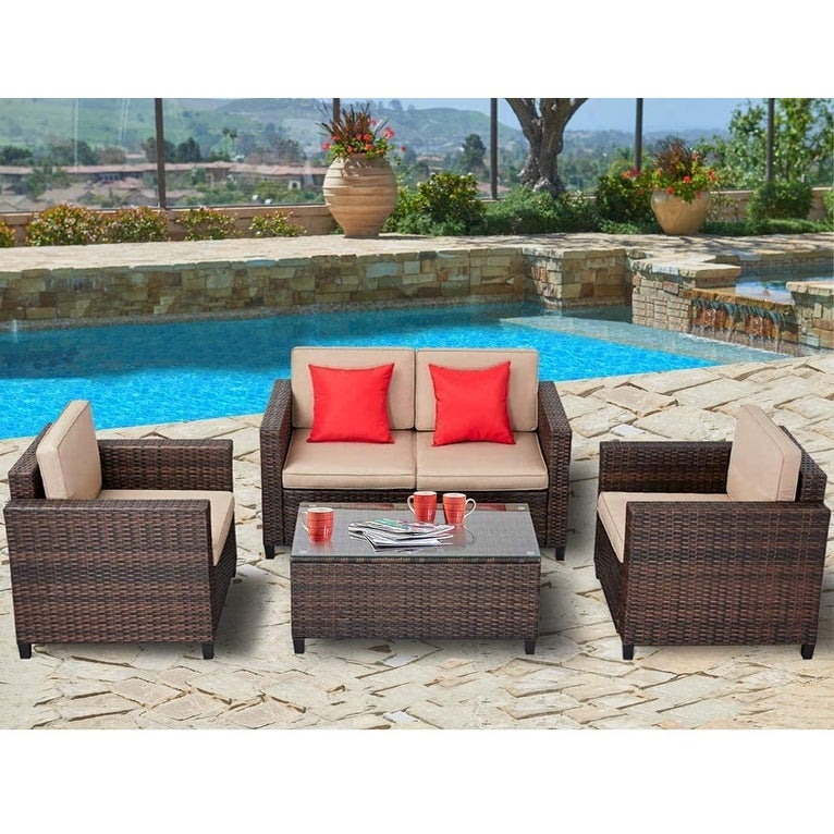 Suncrown Outdoor 4-Piece Rattan Patio Furniture Conversation Set