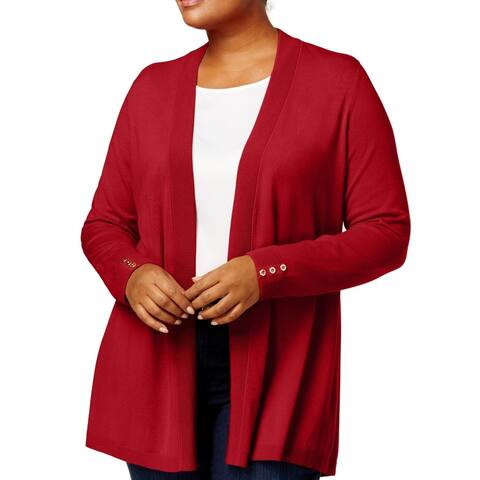 Charter Club Womens Sweater Red Size 2X Plus Cardigan Open Front Ribbed