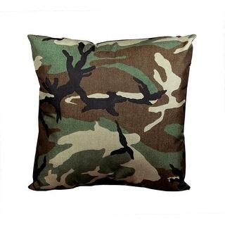 "17"" Decorative Wicker Furniture Patio Throw Pillow - Woodland Terrace Camo"