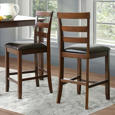 Abbyson Damian Leather and Wood Counter Height Chair