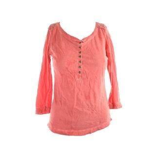 Lauren Jeans Co. Red 3/4-Sleeve Crochet-Trim Henley Top XS
