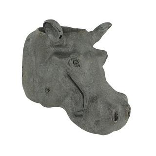 Grey Stone Finish Hippo Head Hanging Planter Statue - 10.25 X 10.5 X 7.5 inches