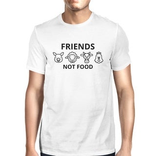 Friends Not Food Men's White Trendy Design Graphic Tee For Guys