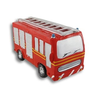Bright Red Fire Truck Coin Bank - 4.25 X 7.5 X 4 inches
