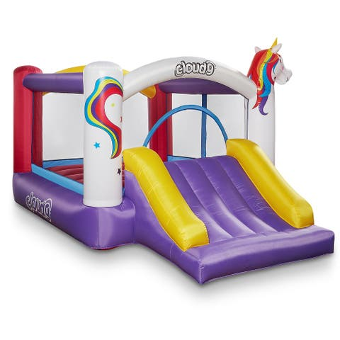 Unicorn Theme Bounce House with Slide and Blower by Cloud 9