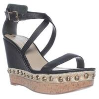 Via Spiga Moss Wedge Ankle Strap Sandals, Black