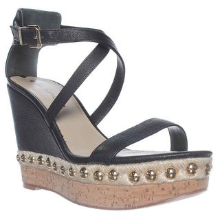 Via Spiga Moss Wedge Ankle Strap Sandals - Black