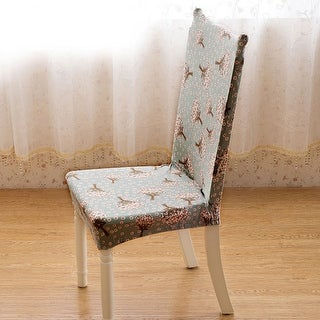 Unique Bargains Floral Print Removable Stretch Elastic Dining Room Chair Cover
