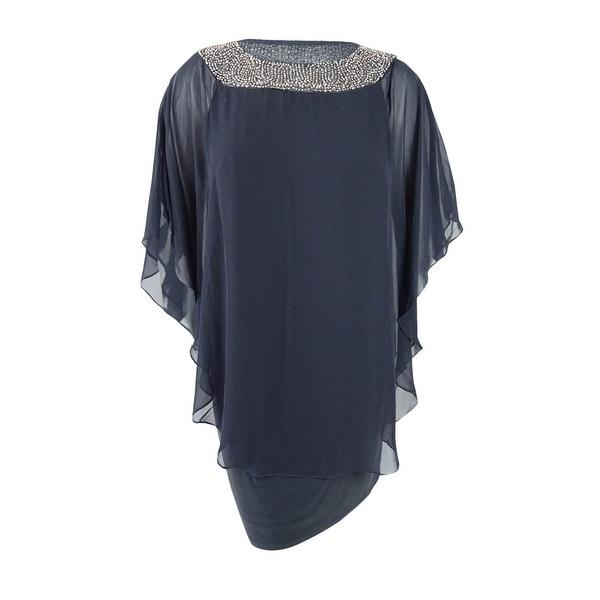 4d8f23bf334ca Shop Xscape Women's Plus Size Beaded Chiffon Capelet Dress - Free ...