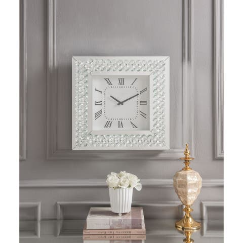 """White 20"""" Square Wall Clock in Mirrored & Faux Crystals"""