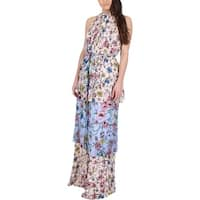 Juicy Couture Black Label Womens Maxi Dress Floral Print Chiffon