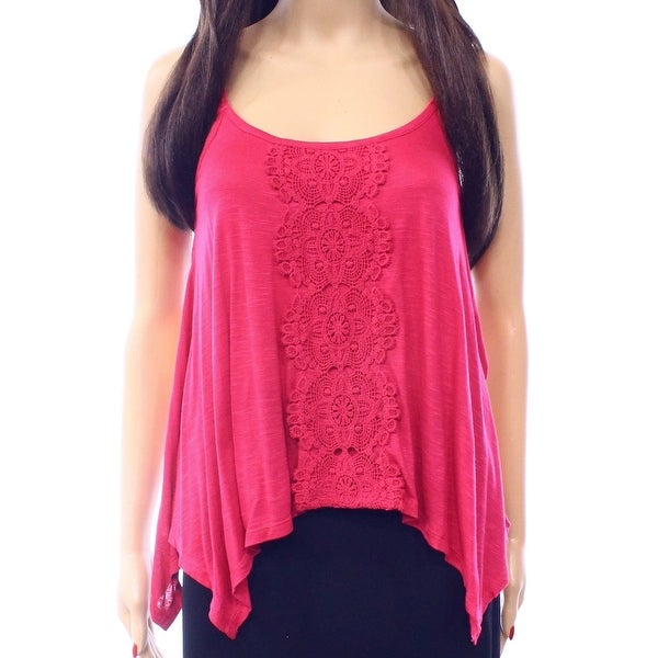 Love On A Hanger Hot Pink Size Small S Junior Crochet Knit Tank Top