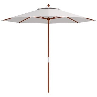 Costway Adjustable 9FT Wooden Patio Umbrella Wood Pole Outdoor Garden Sun Shade Beige