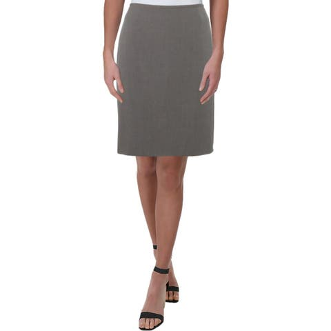 Tahari ASL Womens Petites Pencil Skirt Heathered Office