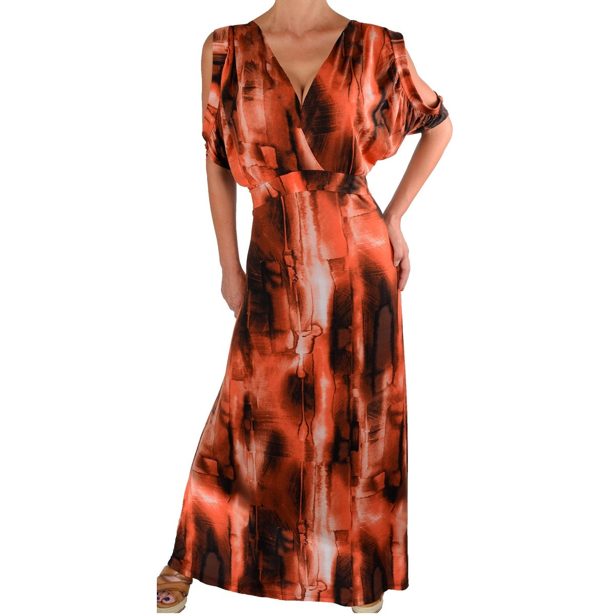 Women/'s Black Slinky Stretch Knit Tunic Short Sleeve Maxi Dresses  Made In USA