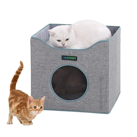 Jespet Foldable Cat Condo, Smoke Gray