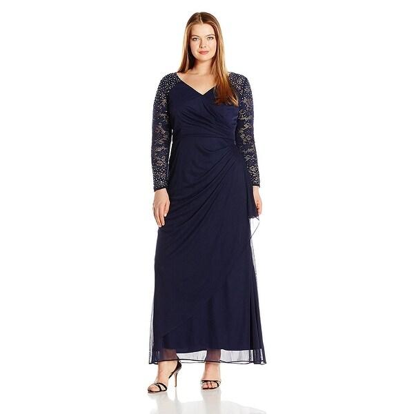 Shop Alex Evenings Plus Size Embellished Illusion Sleeve Long ...