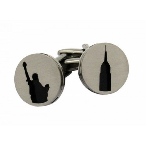 New York Silhouette Big Apple Manhattan Statue Of Liberty Empire State Building Cufflinks