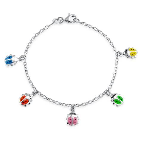 Lucky Ladybug Dangling Charm Bracelet 925 Sterling Silver 6.5 Inch