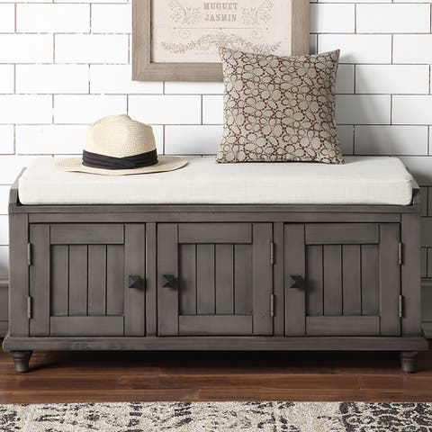 Homes Collection Wood Storage Bench with 2 Cabinets