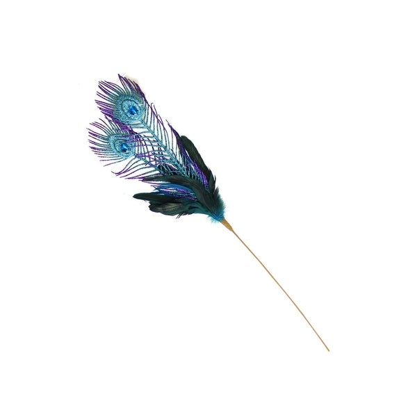 "26"" Regal Peacock Purple and Green Feather, Glitter and Faux Jewel Christmas Floral Pick"