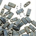 Miyuki Half Tila 2 Hole Rectangle Beads 5x2.3mm - Matte Metallic Silver Gray 7.8 Grams - Thumbnail 0