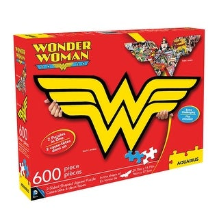 """Wonder Woman 2-Sided Logo Puzzle - 600 Pieces - 29.75"""" x 14.75"""" - Red"""