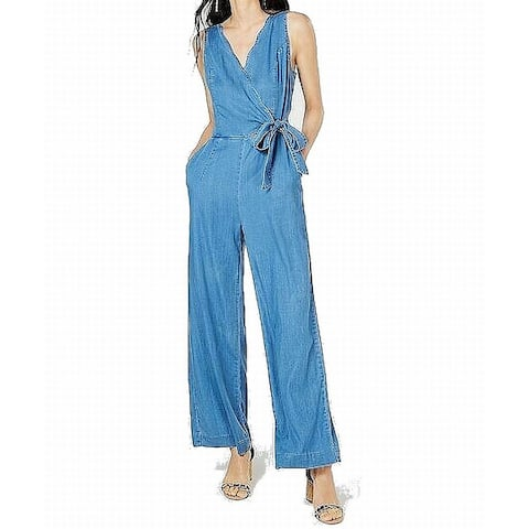 INC Womens Jumpsuits Blue Size 8 Scalloped Surplice V-Neck Chambray