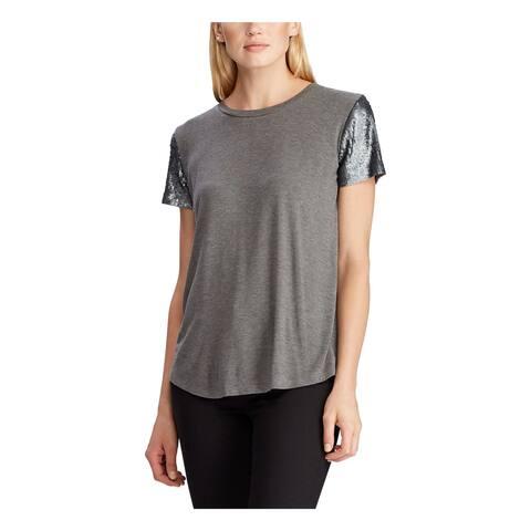 RALPH LAUREN Womens Gray Heather Short Sleeve Jewel Neck Top Size XL