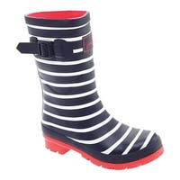 Joules Women's Molly Welly Printed Mid Rain Boot French Navy Stripe Rubber