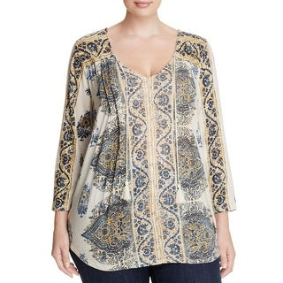 Lucky Brand Womens Plus Casual Top Printed Three-Quarter Sleeve