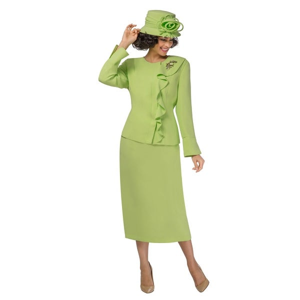 Giovanna Signature Women's 2-pc Off-center Ruffled Skirt Suit. Opens flyout.