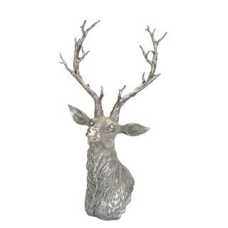 "29.5"" Subtle Gray Distressed Finish Antique Style Deer Bust Figure"