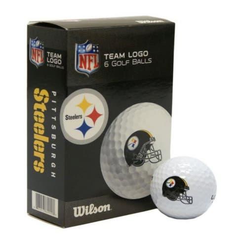 Wilson NFL Pittsburgh Steelers Golf Balls Team Logo 6 Ball Pack Wilson Ultra 500 - One Size