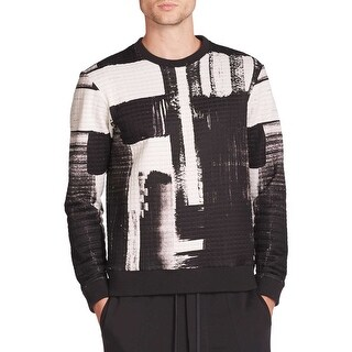 Public School New York Textured Printed Crewneck Sweatshirt X-Large Black White
